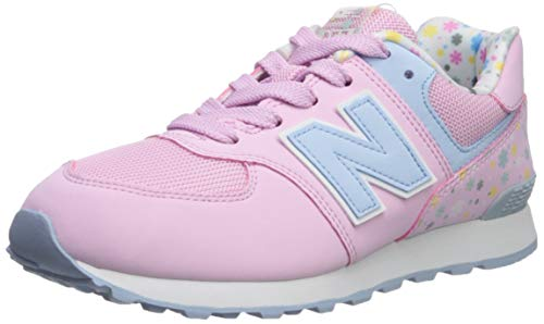 New Balance Girls 574v1 Lace-Up Sneaker, Crystal Rose/Su, 3.5 R M US Little Kid (4-8 Years)