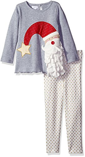 Mud Pie Toddler Girl Holiday Two Piece Playwear Set, Santa Dot, (Santa 2 Piece Set)