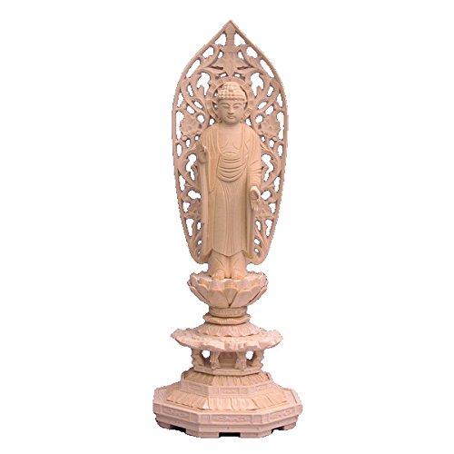 木彫仏像 阿弥陀如来 立像 4.0寸 草光背 八角台 桧木 B01I2GZVRU