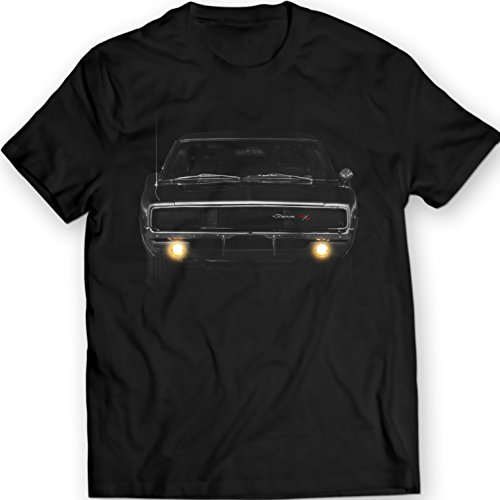 DTG MKWTees Dodge Charger 1968 Antenna R/T American Muscle T-Shirt 100% Cotton (XXL, Black)