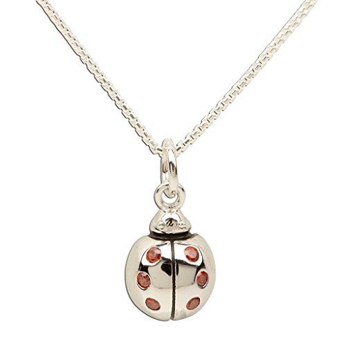 Sterling Silver Ladybug Pendant - Children's Sterling Silver Ladybug Pendant Necklace with Red CZs, 14