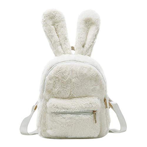 Women's Faux Fur Mini Backpack Cute Rabbit Ear Satchel Shoulder bag Purse Plush Handbags (White)