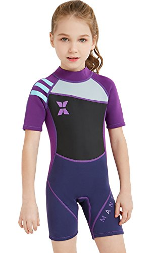 - DIVE & SAIL Girls Short Sleeve Wetsuit One Piece Wetsuit Shorty UV Sun Protection Swimsuit Thermal Warm Diving Full Suit Purple L