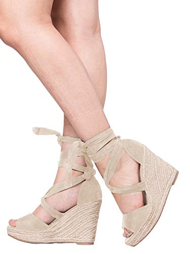 Kathemoi Womens Wedge Sandals Ankle Strap Lace Up Espadrille Slingback Platform Heeled Sandals ()