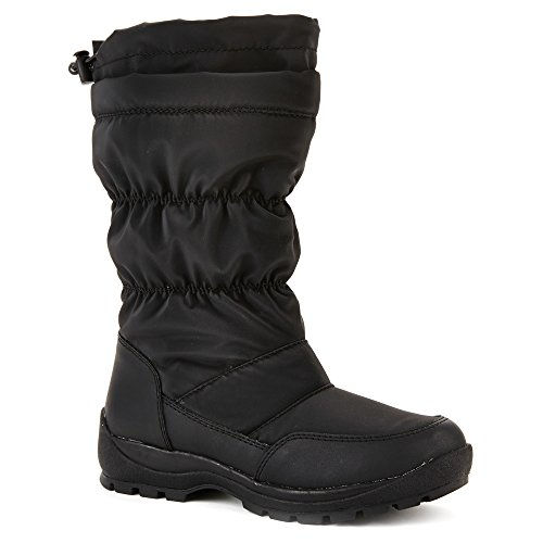 Cougar Womens Minty 6 Pull-On Insulated Snow Boot Black Sportbuck/Shark