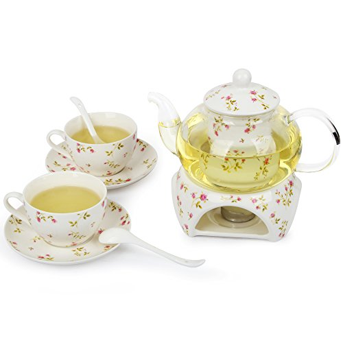 Kendal 24 oz tea maker teapot with a Porcelain warmer and 2 set of Porcelain Cup and Saucer and Spoon SI-QCMG (2-QCMG)