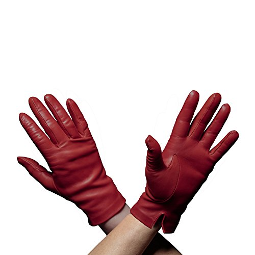 Beau Gant Handmade Italian Leather Gloves, Womens, Fur Lined (7, dark red)
