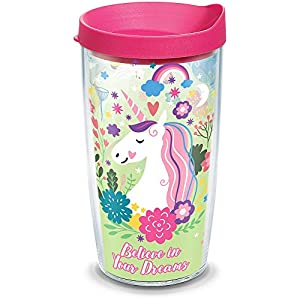 Tervis 1316646 Believe In Dreams Unicorn Insulated Tumbler with Wrap and Lid 16 oz - Tritan Clear