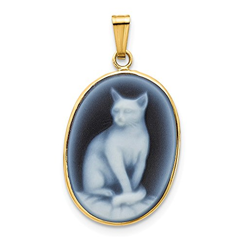 Q Gold Jewelry Pendants & Charms Cameos 14k 13x18 Full Cat Agate Cameo Pendant