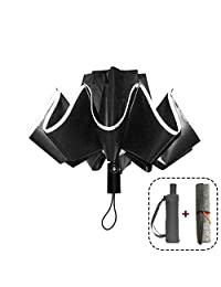 Portable Windproof Umbrella Reverse Folding Umbrella for Travel Automatic Open Close Umbrellas with Safe Reflective Tape - Compact Sturdy 10 Ribs
