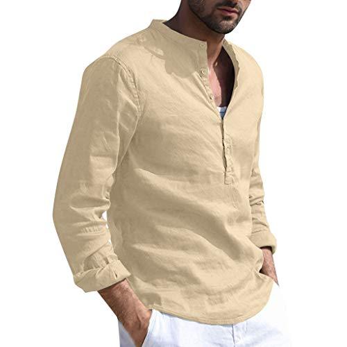 (Men's Baggy Cotton Linen Solid Long Sleeve Button Retro T Shirts Tops Blouse, MmNote Khaki)