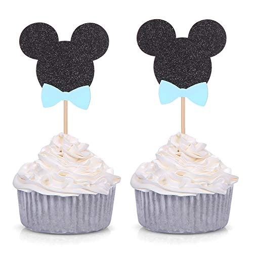 24 Counts Minnie Mouse Inspired Cupcake Toppers Male Baby Shower Party Picks]()