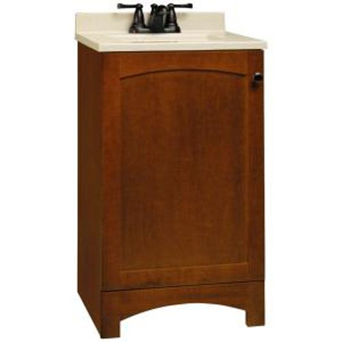 American Classics by RSI PPMELCHT18Y Melborn 18-Inch Vanity, Chestnut with Solid Surface Technology Vanity Top, Wheat - Solid Surface Backsplash