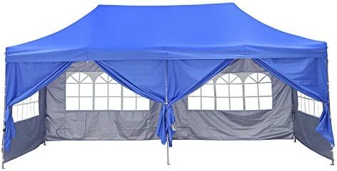 OVASTLKUY 10ft x20ft Pop Up Patio Canopy Tent with/Without Sided Cloth Outdoor Party Gazebo Pavilion Blue