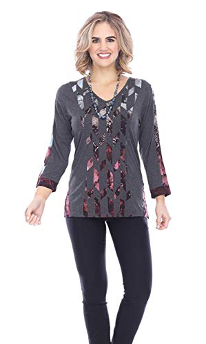 Parsley & Sage - Celeste, 3/4 Sleeve V-Neck Geometric Pattern Cutwork Fashion ()