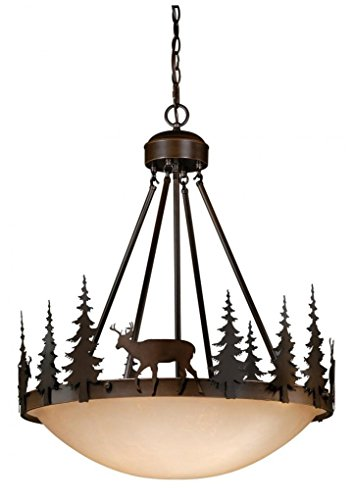 Vaxcel PD55424BBZ 4 Light Bryce Large Pendant Light Fixture in Burnished -