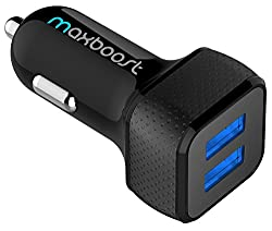Car Charger, Maxboost 4.8a24w 2 Usb Smart Port Car Charger [Black] For Iphone X 8 7 6s 6 Plus, 5 Se 5s 5 5c, Galaxy S8 S7 S6 Edge, Note 8 4, Lg G6 G5 V10 V20, Htc,nexus 5x 6p,pixel,ipad Pro Portable