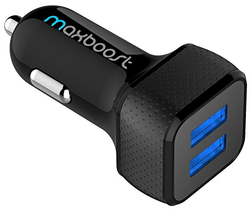 Car Charger, Maxboost 24W USB Smart Car Charger [Black] for iPhone Xs Max/XR/XS/X/8/7/6 Plus,Galaxy S10/S10+/S10e/Note9, LG G7 G8, iPad Pro/Air 2 / Mini, Nexus, HTC, Pixel and More