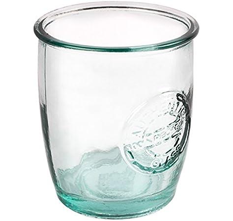 Auténtico cristal reciclado vasos 16 oz/450 ml – juego de 6 vasos altos de cristal – verde: Amazon.es: Hogar