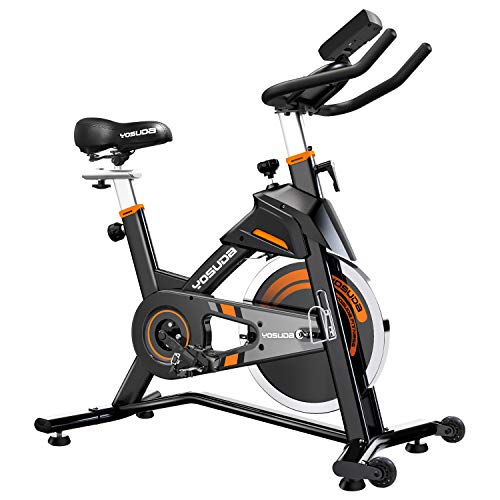 YOSUDA Indoor Cycling Bike Stationary – Exercise Bike for Home Gym with Comfortable Seat Cushion, Silent Belt Drive…