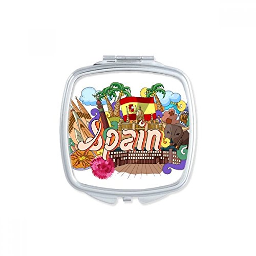 Prado Seafood Spain Graffiti Square Compact Makeup Pocket Mirror Portable Cute Small Hand Mirrors Gift by DIYthinker
