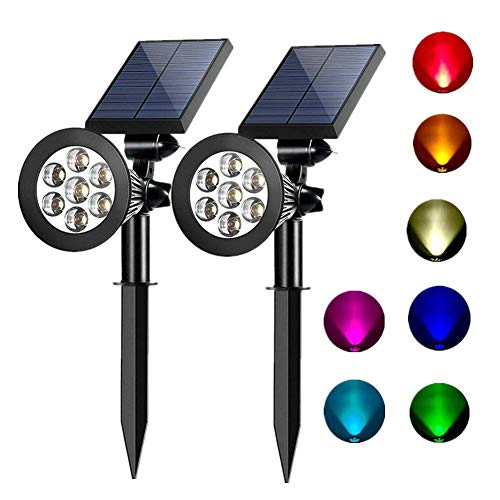 Sunklly Solar Spot Lights Outdoor 2-in-1 Colored Adjustable 7 LED Waterproof Security Tree Solar Spotlights Lawn Step Walkway Garden Changing & Fixed Color (2 - Tree Spot