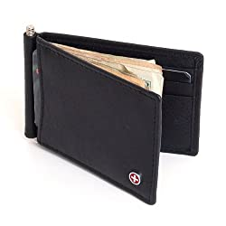 Mens Alpine Swiss Money Clip Front Pocket Wallet Spring Clip 9 Card Slots Leather - Black