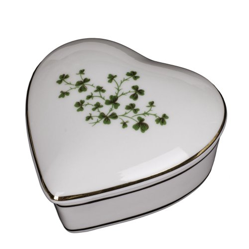 Porcelain Irish Shamrock Jewelry Keepsake Box (Heart Box) Porcelain Heart Jewelry