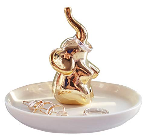 Luxury Porcelain Adorable Elephant Ceramic Jewelry Tray, Ring Holder, Bracelets Plate, Dessert Dish - Perfect for Holding Small Jewelries, Rings, Necklaces, Earrings, Trinket etc. Sitting Elephant ()