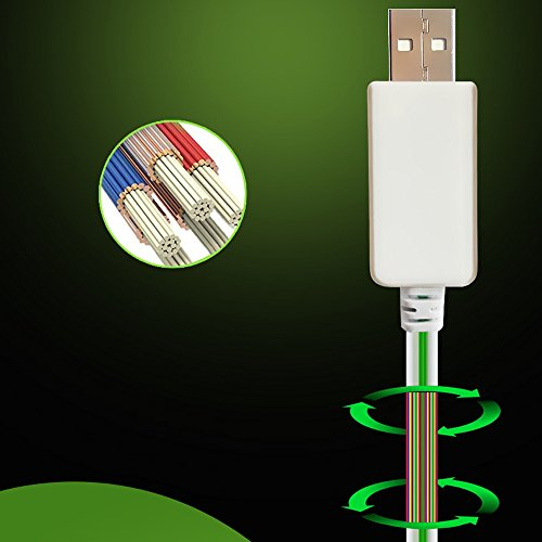 70%OFF Cdycam USB Data Sync Cable 8pin Visible Intelligent Flash Flowing Electroluminescent Wire for iPhone 5/5s/ 6/6plus/7/7plus,ipad mini,iPad4 Charger Adapter LED Light Line (Black cable/Green light)