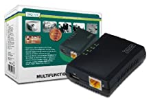 DIGITUS Fast Ethernet - Servidor de red, multifuncional para NAS, concentrador USB, impresora, unidad de DVD, 1 puerto, USB 2.0, red 10/100 Mbit / s, RJ45, negro