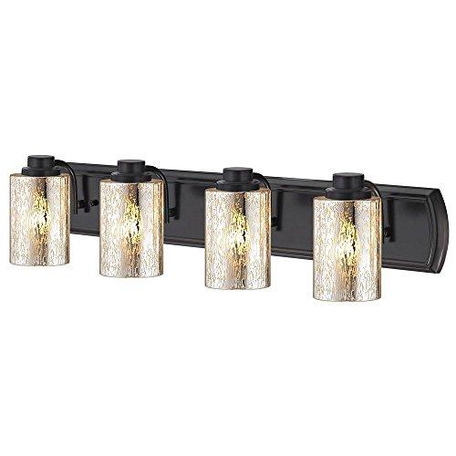 Mercury Wall Vanity - Industrial Mercury Glass 4-Light Bath Wall Light in Bronze