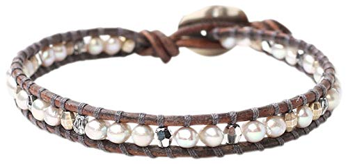 - Chan Luu Freshwater Cultured Pearl Single Wrap Bracelet on Natural Grey Leather (Dark Grey Mix)