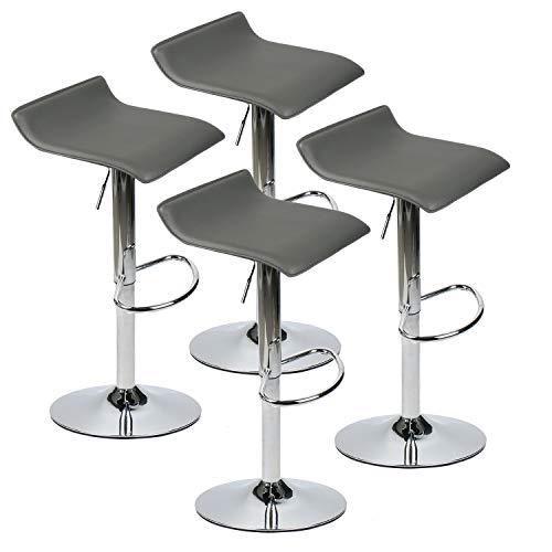 (PULUOMIS 360 Degree Swivel Adjustable Bar Stool, Mordern Faux Leather Pub Chair, Set of 4, Grey)