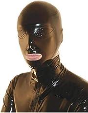 100% natuurlijk latex masker rubber eten SM fetisch full bondage masker (zwart)