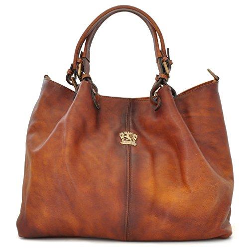Pratesi Womens Italian Leather Collodi Woman Bag in Cow Leather in Brown