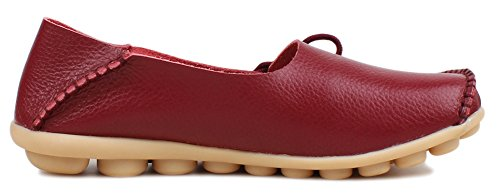 Leather Cowhide ONS Shoes Burgundy Slip Sty Fangsto Women's 1 Flat Loafers Slipper qAxE8Y5