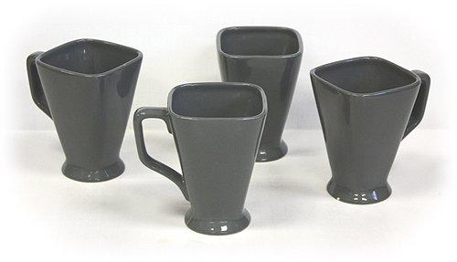 (Hues & Brews 14-Ounce Square Pedestal Mug, Gray, Set of 4)