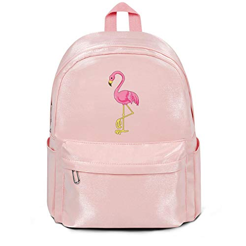 All About the Flamingos Bird Color Bag Classic Nylon Durable 13 Inch Laptop Compartment Backpack College Bookbag
