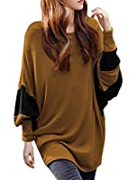 Allegra K Women Color Block Batwing Loose Tunic Top