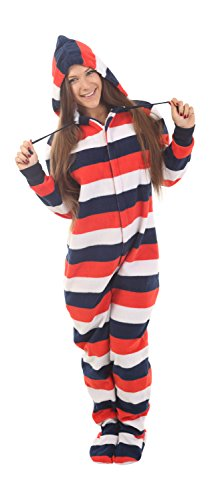 Adult Onesie Pajamas Footed Red White Blue Jumpsuit XS-XXL (Size By Height)