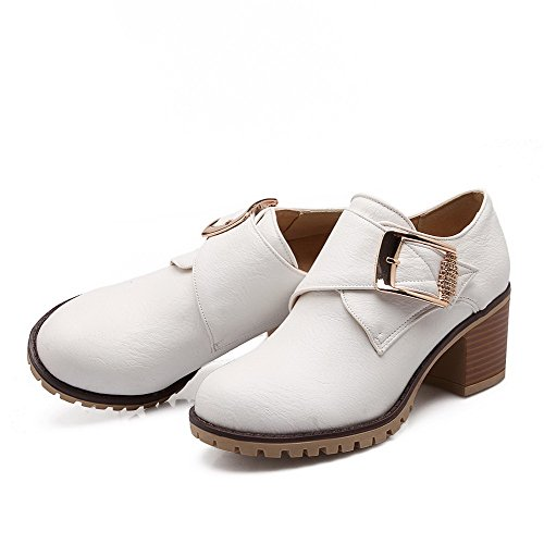 AllhqFashion Womens Kitten-Heels Solid Round Closed Toe Soft Material Hook-And-Loop Boots White baH2h8