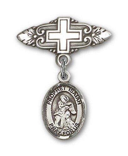 Icecarats Créatrice De Bijoux En Argent Sterling St. Isaiah Broche De Badge Charme Avec Une Croix X 3/4