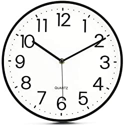 Lawei 11 inch Round Silent Wall Clock - Black Non-Ticking Battery Operated Round Quartz Clock for Home, Office, School, Kitchen