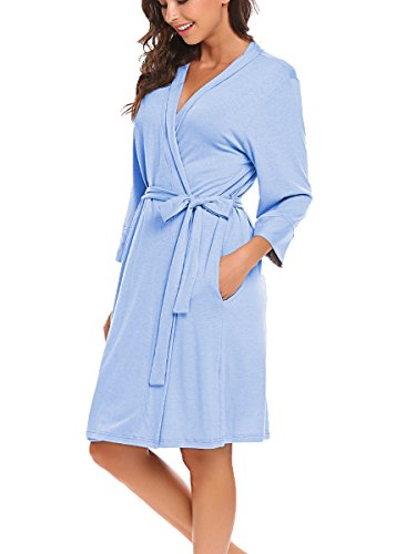 BLUETIME Women's Robe Soft Kimono Cotton Breathable Hotel Spa Bathrobe Sleeve Short Sleepwear S-XXL (L, Blue)