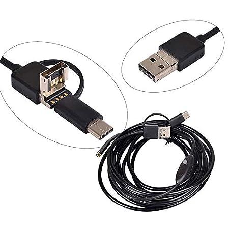3.5M 3 In1 Hd Snake Camera 7Mm 6 Led periscopio impermeabile USB per Smartphone//PC TOPmountain Telecamera per ispezione endoscopio