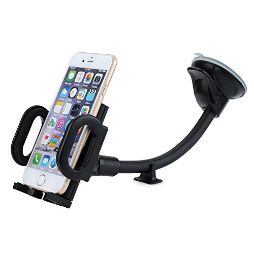 Mpow Cell Phone Holder for Car, Windshield Long Arm Car Mount with One Button Design and Anti-skid Base for iPhone 7/6S/6 Plus/6S/6/5S/5,Google Pixel/Pixel XL/Nexus 6/6P/5X/5, LG, HTC, Huawei, etc.