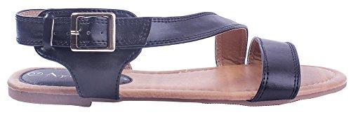 Non Ageemi Shoes Sandales Noir Pu Boucle Unie Cuir Femmecouleur 26 Talon x11Fr