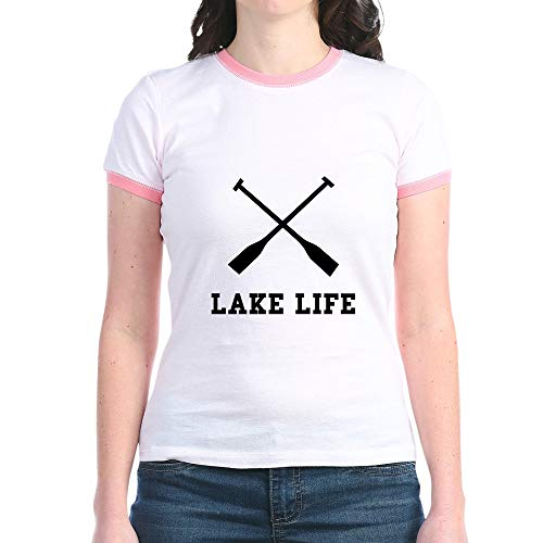 Fish Kids T-shirt Ringer (CafePress Lake Life Jr. Ringer T Shirt Jr. Ringer T-Shirt, Slim Fit 100% Cotton Ringed Shirt Pink/Salmon)