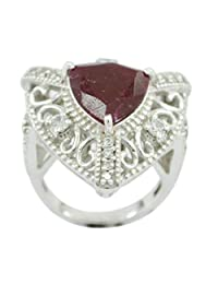 Indian 925 Sterling Silver Charming Genuine Red Ring, Indian Ruby Red Gems Silver Ring